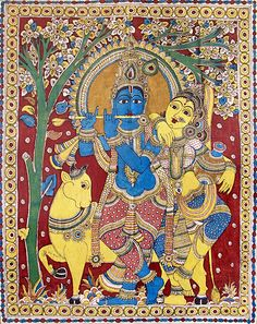 Radha Krishna - The Divine Lovers - Kalamkari Painting . Ancient Indian Art, Indian Folk Art, Indian Artist, Madhubani Art, Madhubani Painting, Traditional Paintings, Traditional Art, Phad Painting, Tantra Art