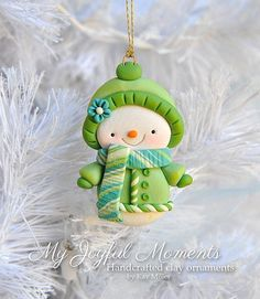 This is s one of a kind, handcrafted ornament made of durable polymer clay, with much attention given to detail and careful construction. Polymer Clay Owl, Polymer Clay Ornaments, Polymer Clay Projects, Crea Fimo, Polymer Clay Christmas, Cute Clay, Clay Figurine, Clay Creations, Christmas Ornaments