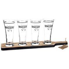 Plateau 4 verres à bière en verre - BRASSERIE