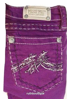 Miss Me Girls / Kids Size 16 Plum Colored Denim Skinny Jeans, JK1045S3 NWT #MissMe #SlimSkinny #Everyday