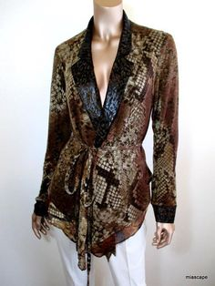 ALBERTO MAKALI NWT $139 Cardigan Sweater ~ M S ~ Reptile Print Chiffon Lined NEW #AlbertoMakali #Cardigan