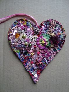 I ❤ embroidery . . . Heavily Embellished Wall Hearts ~By Phillipa of Stitching Always