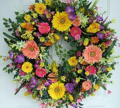 """XL Spring wreath, spring door wreath, 29"""" round,  floral arrangement, Gerber daisies, floral wreath"""