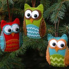 cute felt owl ornaments