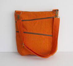 Sale - Orange Water Resistant Nylon Bag - Shoulder bag, Diaper bag, Messenger bag, Tote, Travel Bag - ENYA
