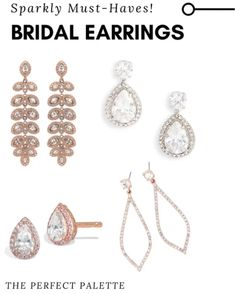 Bridal Earrings, Bridal Jewelry, Statement Earrings, Diamond Earrings, Bridesmaid Dresses, Bridesmaids, 18k Rose Gold, Bridal Accessories, Rose Gold Plates
