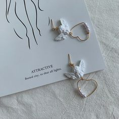 Cute Cupid Angel Heart With Pearl Drop Earrings – Girly Giggles Angel Earrings, Pearl Drop Earrings, Cute Earrings, Heart Earrings, Angel Heart, Angel Wings, Japanese Jewelry, Heart With Wings, Earring Cards