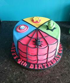 Superhero spiderman, hulk, captain America and Flash birthday cake