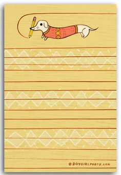 Write a lunch note, a list, a message or note to self! The act of physically writing is tied to both memory and memorabilia. Doxie Pencil Notepad by Susie Ghahremani / boygirlparty.com