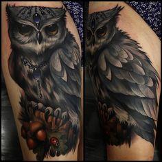 Owl with ladybird tattoo by Aimee Cornwell