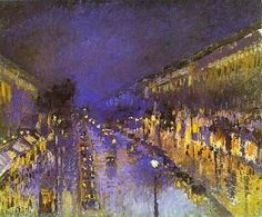 The Boulevard Montmartre at Night, c. 1897 by Camille Pissarro It's a shame I can't see this in the flesh - the application of paint is solid yet sketchy with daubs and dabs giving the illusion of detail. The atmosphere achieved with the colours, tone and perspective is of a night time street bathed in lamp light and of a possible recent rain shower gleaming on the cobbles. Simple and complex at the same time.