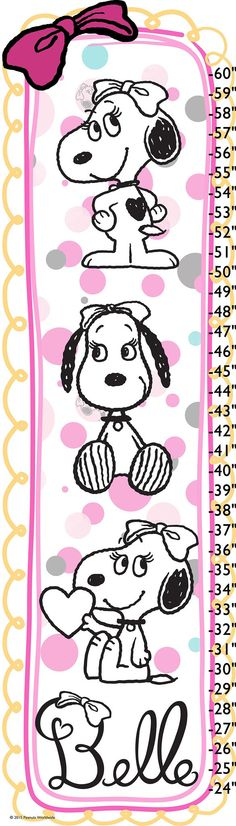Description: Pretty Belle loves wearing her bow. This colorful Peanuts growth chart allows you to mark your child's height in a playful way. This chart would be darling in a child's bedroom. - Peanuts