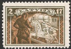"""Latvia 1932 Scott B83 2s (17s) ocher & olive green """"enslaved Latvians building Riga under the knight's supervision."""""""