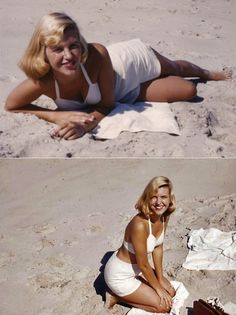 "Sylvia Plath enjoying the beach in her ""Platinum Summer"" of 1954!"