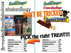 NO TRICKS here! TREAT yourself to a Butterfinger Shakeology!  1cup Almond Milk 1 scoop Chocolate Shakeology 2 tbs Peanut Butter Powder 2tbs sugarfree Butterscotch pudding 1/2 cup ice BLEND and ENJOY! fb~runkatfitandfabulous www.myshakeology.com/runkat