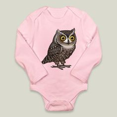 Otus Pocus by Pepetto. Fun Indie Art from BoomBoomPrints.com! https://www.boomboomprints.com/Product/pepetto/Otus_Pocus/Long-Sleeve_Onesies/0-3M_Petal_Pink_Long-Sleeve_Onesie/