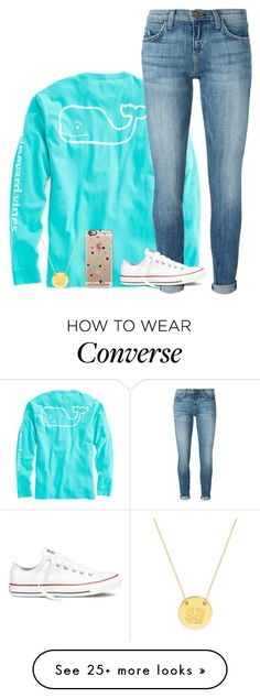 """first set of 2016"" by ameliahinton on Polyvore featuring Vineyard Vines, Current/Elliott, Converse, Casetify and BaubleBar"