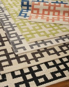 """Barclay Butera's chic """"Block Squares"""" flatweave rug // great for high-traffic areas // #rug #chic"""