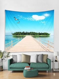 Heart Cloud Bridge Tapestry Art Decoration - multicolor F W91 X L71 INCH Cheap Wall Tapestries, Hanging Art, Tapestry Wall Hanging, Wall Hangings, Inspire Me Home Decor, Blanket On Wall, Wall Blankets, Cactus Vert, Bohemian Interior Design