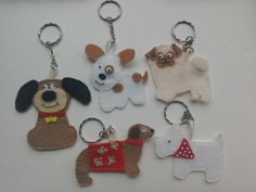 Felt keyring dogs, cute pet keychain, fun puppy pals, dog lovers gift, bag charm by TheCraftingGardener on Etsy
