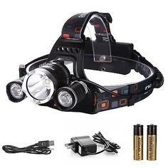 [3 LED Bulbs 4 Modes] Ultra-Bright Headlamp Headlight Rechargeable Waterproof