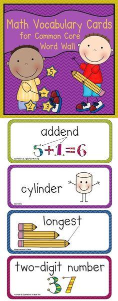 chevron patterns, card perfect, first grade word wall, math vocabulari, 1st grade math vocabulary