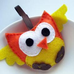 small owl plush, Yellow and Orange felt Mini