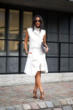 Minimal and Classic Style // love this white asymmetrical outfit // London Calling: Street Style Spring 2015