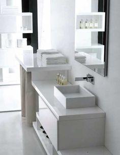 Mobile bagno lavabo decentrato 130 cm design moderno sospeso | bagno ...