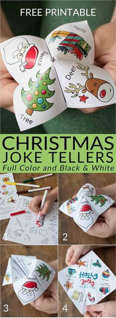 Christmas joke tellers | Christmas jokes for kids | school party | Christmas party | free printable | holiday jokes for kids | cootie catcher | fortune teller | #Christmas #fortuneteller #joketeller