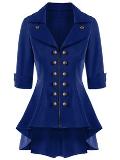 Double Breasted Short Flare Trench Coat - NAVY BLUE M