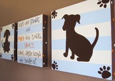 Light Blue and Brown Puppy Silhouette Nursery Art