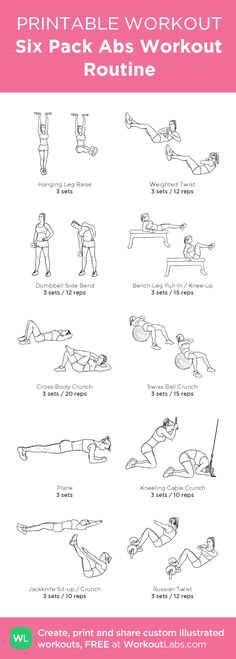 Six Pack Abs Workout Routine:my custom printable workout by @WorkoutLabs #workoutlabs #customworkout