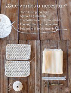 Materiales para tejer un Neceser de Ganchillo hecho con punto Avellana
