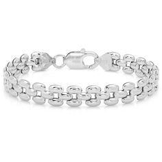 Sterling Essentials Italian Silver 7-inch Panther Link Bracelet (44 CAD) ❤ liked on Polyvore featuring jewelry, bracelets, silver bracelet, silver bangles, silver bracelet jewelry, bracelet bangle and silver jewellery