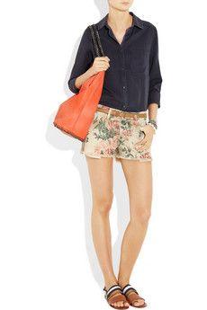 CURRENT/ELLIOTT  The Boyfriend printed low-rise denim shorts  $170