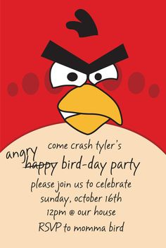 angry birds birthday invitation...very cute. labor intensive, but the selection for angry birds invitations is very limited in stores!!