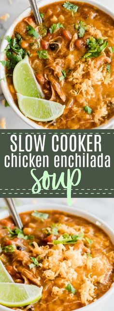 Slow Cooker Chicken Enchilada Soup!  This super flavorful soup is made with enchilada sauce, chunks of chicken, beans, corn, tomatoes, and of course tons of cheese! The perfect warm comforting meal that will warm from the inside.