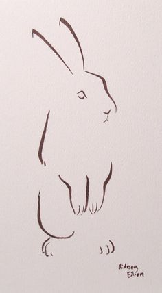 Bunny rabbit - minimalist art by Sidney Eileen, using as few brush strokes as possible Lapin Art, Rabbit Tattoos, White Rabbit Tattoo, Bird Tattoos, Rabbit Art, Rabbit Drawing, Pink Rabbit, Illustration Art, Illustrations