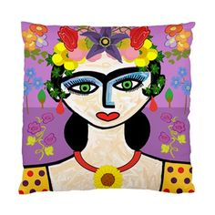 Frida with Spring Flowers Double Sided Art Cushion Cover | Bling Jewellery by Janine Antulov | madeit.com.au