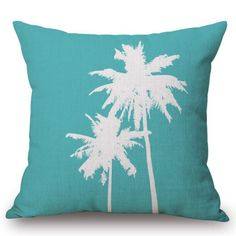 Chic Coconut Palm Pattern Square Shape Flax Pillowcase