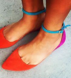 Beautiful Bright & Bold Ankle Strap Flats <3 #teal #orange #fuschia
