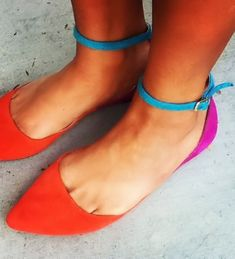 Beautiful Bright & Bold Ankle Strap Flats <3 #teal #orange #fuschia
