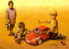 Pawel Kuczynski is a Polish artist who specializes in graphics and deals with satirical illustrations. His thought-provoking illustrations. Satire, Satirical Illustrations, Satirical Cartoons, Political Art, Political Images, Question Everything, Art Academy, Social Issues, Thought Provoking