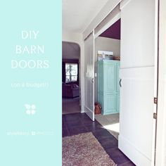 DIY Barn Doors on a budget, hung with box rail mounted to ceiling + trolley hangers