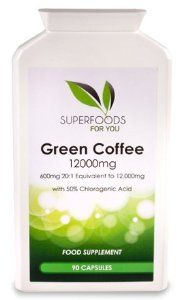 Highest Strength 100% Pure Green Coffee Bean Extract Available (12,000mg with 50% Chlorogenic Acid). 90 Vegetarian Capsules. Manufactured in UK to GMP Standards. No Fillers, Bulking or Anti-Caking Agents.