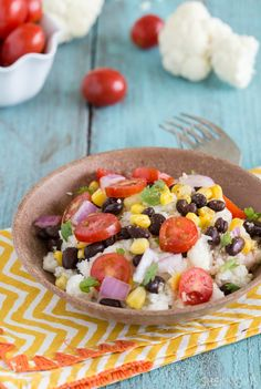 "Healthy cauliflower ""couscous"" with black beans and cilantro"