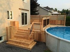 Are you think of how to enhanced your pool area with pool deck ideas? I have here how to enhance your pool area with a pool deck ideas you will love. Above Ground Pool Decks, In Ground Pools, Backyard Pergola, Gazebo, Pergola Kits, Pergola Ideas, Patio Decks, Cement Patio, Flagstone Patio