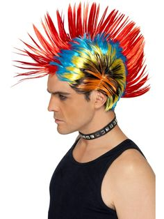 You can buy a Smiffy's Street Punk Wig for costume parties from the Halloween Spot. Complete your costume with this multi-coloured Mohawk street punk wig. 1980s Fancy Dress, Fancy Dress Wigs, Adult Fancy Dress, 80s Punk, Punk Goth, Star Costume, Costume Wigs, Punk Costume, Fancy Dress Accessories