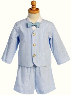 Eton Easter Seersucker Suit- White w/Blue Stripes w/Jacket, Shorts, Shirt, Bowtie - Up to a 4t at $46 (Amazon link)